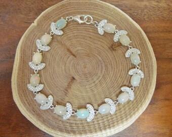 Sterling Silver, Opal and pave CZ bracelet, length 7 3/4 inch