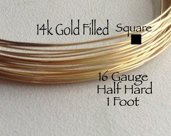 15% Off Sale! 14K Gold Filled Wire, SQUARE, 16 Gauge, 1 Foot, Half Hard, WHOLESALE