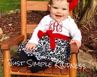 Baby Girls Black White Red Dress, Black White Damask Dress, Baby Girls Christmas Dress, Baby Girls Valentines Dress, Girls Dresses