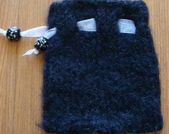 handknit treasure bag - black