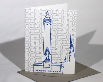 Baltimore Letterpress Card | Washington Monument | blue & silver single blank card with envelope