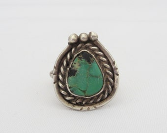 Vintage Old Pawn Sterling Silver Turquoise Ring Size 8.25