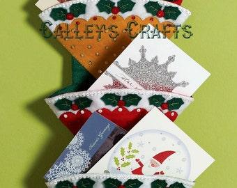 Bucilla Holly Jolly ~ Christmas Greeting Card Holder Felt Kit #86317 Santa 2012 DIY
