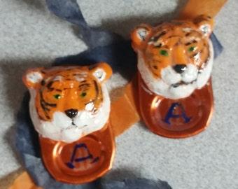 RECYCLED--Auburn Tiger Pop Top Earrings
