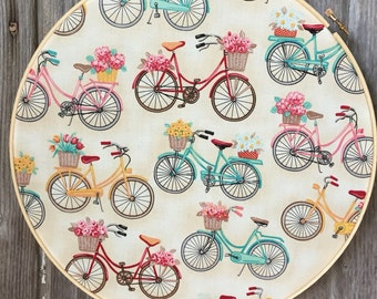 """12"""" Fun Flowers & Bicycles Fabric Embroidery Hoop Art Wall Decor."""