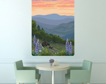 Hillside Bears Sunset Landscape Wall Decal - #60973
