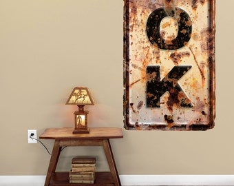 Oklahoma OK State Abbreviation Weathered Wall Decal - #52884