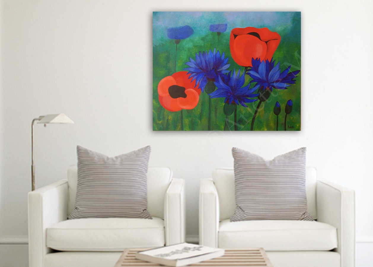 poppy wall art large acrylic painting on by paintingsbyarlette. Black Bedroom Furniture Sets. Home Design Ideas