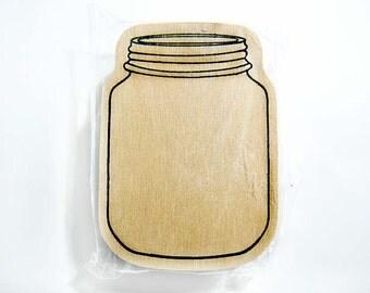 Mason Jar Outline/Frame Wood Mounted Rubber Stamp
