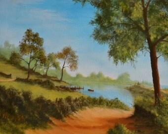 "Summer Lake Side. Unframed landscape Oil Painting 19"" x 19.5"""