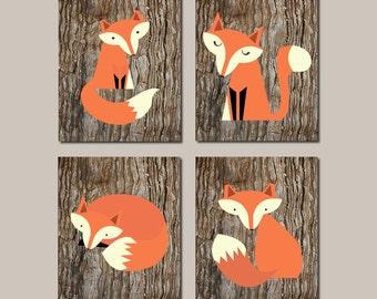 Fox Nursery Wall Art Printable Nursery Decor Fox Nursery Art Woodland Nursery Woodland Animals Set of 4 Prints Or Canvas