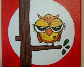 Original Owl painting 8 x 10