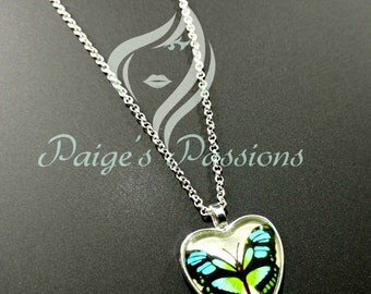 Beautiful Blue and Green Butterfly Pendant Necklace