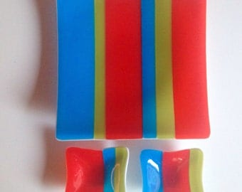 MODERN STRIPES Sushi Platter Set in Fused Glass