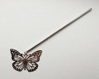 Silver butterfly hair stick hair pin geisha kanzashi binyeo