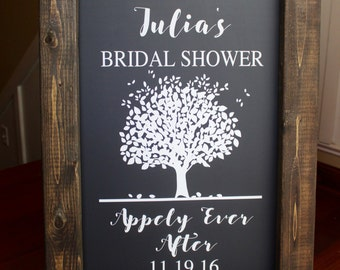APPLEY EVER AFTER  Wedding Chalkboard Easel Sign Wedding Day Decor Wedding Sign Aisle Decor Calligraphy Rustic Sign Fall Wedding Quote