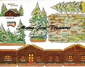 Vintage Spanish Winter Cabin Paper Cut Outs - Digital Download