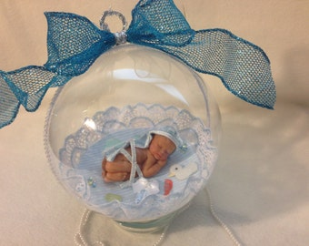 "It's Baby Boy Bath Time... Large 5 1/2"" Polymer Clay Baby Ornament with glass base"