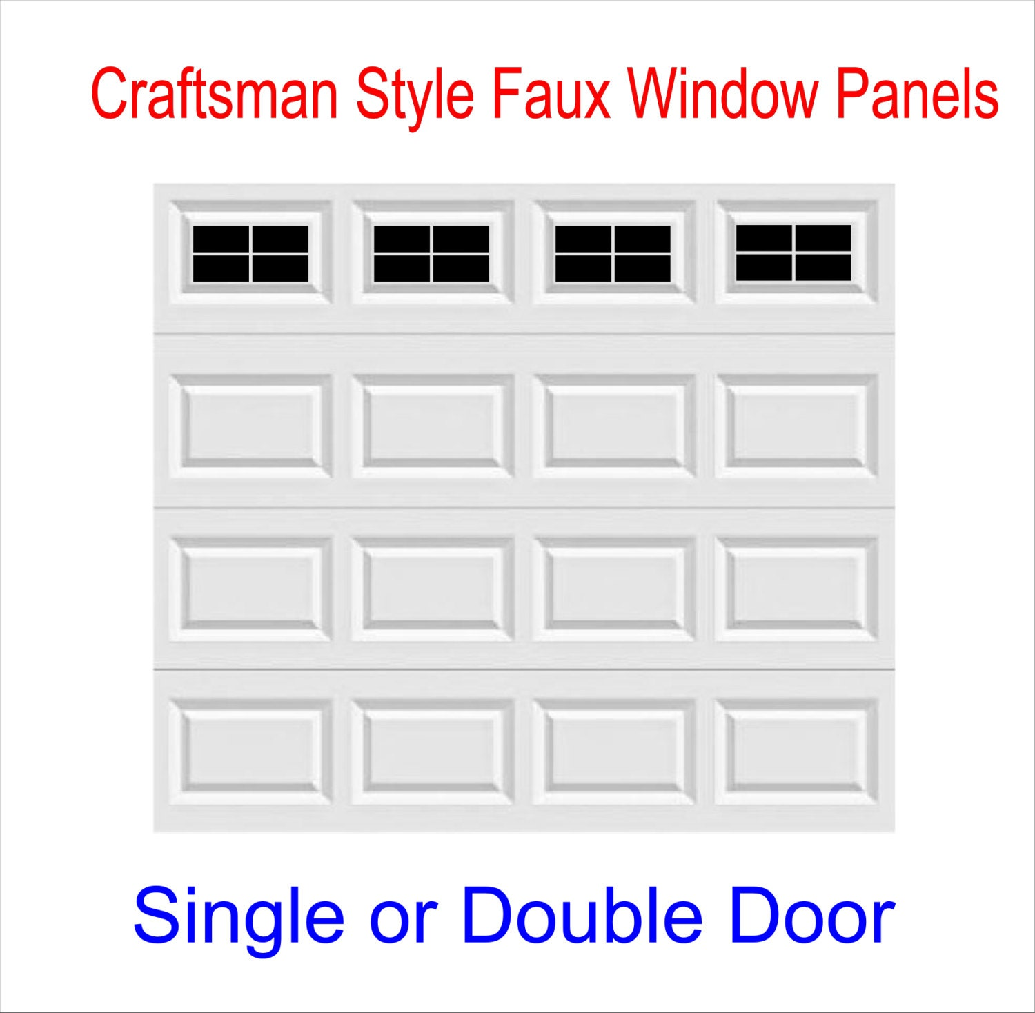 Garage Door Vinyl Window Decals: Craftsman Style Vinyl Garage Door Decal Kit Faux Windows Only