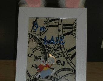 White Rabbit Inspired Art and Frame