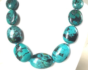 Turquoise Necklace, Natural Dragon Skin Turquoise Necklace, Bold and Chunky Nugget Turquoise