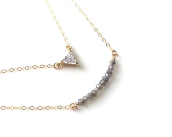Layered Necklace, Labradorite Layered Necklaces, CZ Pendant Necklace, cz Triangle Necklace, cz Layering Necklace, Labradorite Bar Necklace