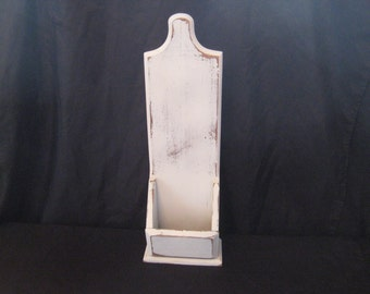 White distressed wood hanging planter, letter box, what not box, shabby cottage chic decor, 917