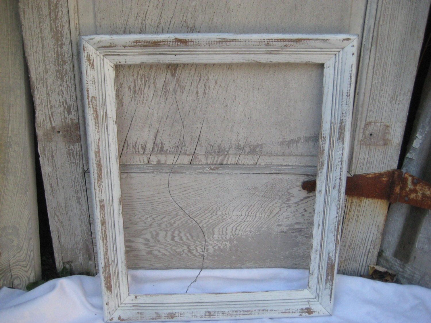 Painted White Distressed Wood Frame 16 X 20 Inches Rustic