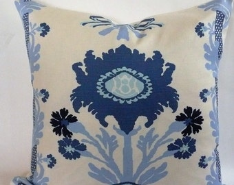 Quadrille Henriot Pillow Cover in Blues