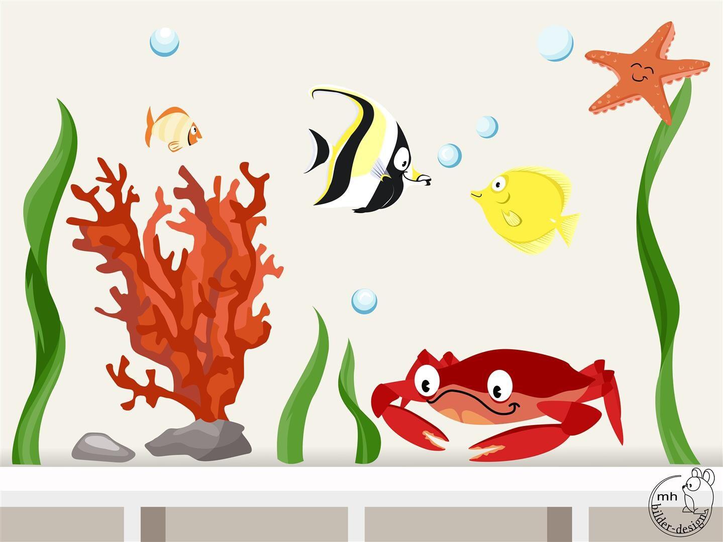 Wandtattoo unterwasserwelt 2 ozean meerestiere - Wandtattoo unterwasserwelt ...