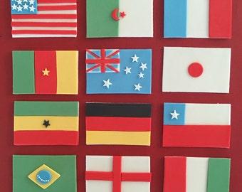 12 fondant flags