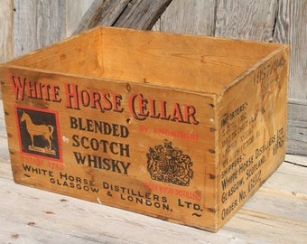 White Horse Cellar Blended Scotch Whiskey Wooden Shipping Crate From 1957