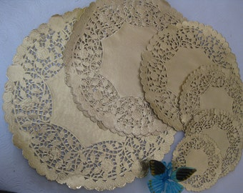 """4"""" 5"""" 6"""" 8"""" 10"""" 12"""" Inch GOLD PAPER LACE Doily 36 pcs Party 6 Each Free Shipping!"""