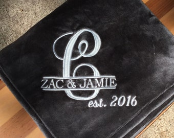 Personalized Embroidered Plush Throw Blanket /Wedding/Anniversary Bright Colors / Perfect for Teens and Kids.