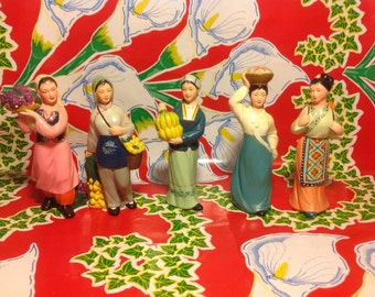 Vintage set of 5 intricately hand painted chalk ware Asian women figurines carrying fruit