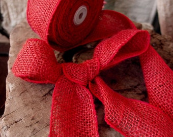 """2"""" wired red burlap ribbon - 10 Yards"""