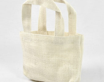 """5"""" x 5"""" x 2"""" Off White Burlap Tote Bags (6 Pack)"""