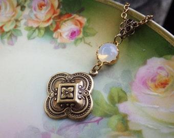 Moonstone Opal ~ Celtic Pendant ~ Vintage Glass ~ Quatrefoil Pendant ~ Outlander Jewelry ~ Renaissance ~ by LadyofTheLakeJewels