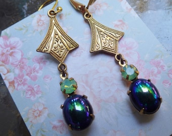 Blue Green ~ Art Deco Earrings ~ Midnight Blue ~ Vintage Glass ~ Miss Fisher's ~ By LadyoftheLakeJewels
