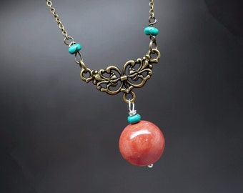 Red Coral Necklace - Coral Jewelry - Retro Stone Necklace - Handmade Vintage Coral Jewelry Gift For Mom Gift For Her Gift For Siter