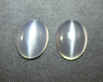 Cat's Eye Moonstone Pair 10x8mm Oval Cabochons