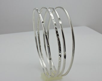 Sterling Silver Bracelets - Extra Large Size Bangle Set - XL Bangles - Hand Hammed/Filed Bangle Set - Set of Four