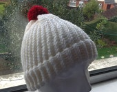 Red Pom Pom Hat White and Cream Hat Red Pom Pom Beanie White Yarn Beanie White Wool Beanie Cream Wool Hat Knit Hat Christmas Beanie