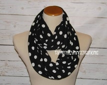 NEW!! Black with White Polka Dot Scarf Jersey Knit Spandex Infinity Scarf Women's Accessories
