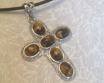 Silver Tiger's Eye Agate Cross, Tiger's Eye Pendnat Necklace Cross, Silver Tiger's Eye Agate Pendant, Silver Cross Tiger's Eye Necklace