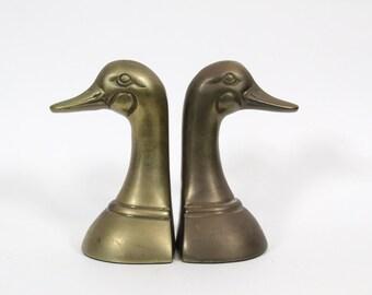Vintage Brass Duck Bookends, Duck Head Bookends