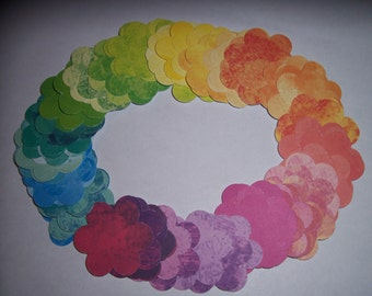 100- FLOWERS mixed colors-die cut punches/parties/confetti/birthday/table decor./weddings/crafts