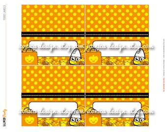 Candy Corn Halloween Party Food Labels Tent Cards Digital File Party Decor Party Printables
