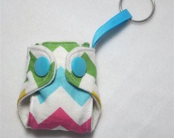 "Basic Key chain diaper- Pastel Rainbow Chevron  2"" cloth diaper key chain, chevron diaper keychain, diaper"