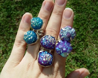 Titanium druzy, silver rings, 3 sizes to choose from.